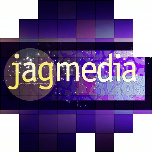 Jagmedia logo with purple cubes